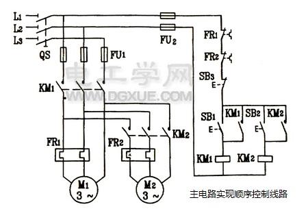 温岭市电器机械厂为您解析三相电机主电路实现顺序控制电路图解